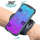 Bovon Sport Armband, 360° Rotation Handgelenk Handytasche für alle Telefone mit der Bildschirm von 4.0-6.5 Zoll, Handy Armband mit Schlüsselhalter für Joggen Radfahren(Schwarz)