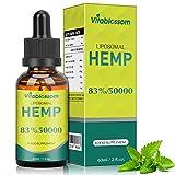 Liposomales Hanf Naturöl | 83%/50000mg | Reine Hochkonzentrationsformel | Hohe Absorption | 60-Tage-Versorgung | Pfirsichgeschmack | Veganerfreundlich | Made in USA