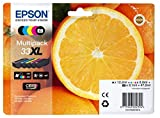 Epson Original T3357 Orange, Claria Premium Tinte XL, Text- und Hochglanzfotodruck (Multipack 5-farbig) (CYMK + Photo-schwarz)
