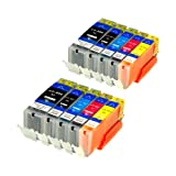 10 Druckerpatronen für IP7250 MG 5450 MIT CHIP und Füllstandanzeige für Canon Pixma MG6350, MX725, MX925, kompatibel mit PGI550BK, CLI551C, CLI551M, CLI551Y und CLI551BK