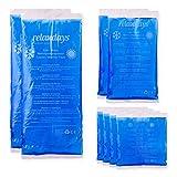 Relaxdays Kühlpads Gel im 8er Set, Erste Hilfe, wiederverwendbar, 3 Größen, Kalt-Warm Mehrfachkompressen Sport, blau
