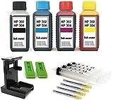 Tintenpatronen Nachfüllset - 4 x 100 ml Premium Refill-Tinten für HP 302 und HP 304 black und...