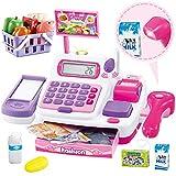 Buyger 34 Stück Elektronische Kasse Spielzeug Supermarkt Registrierkasse mit Scanner Mikrofon...