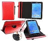 Emartbuy® Pearl Touchlet XWi.8 3G Windows Tablet PC 8 Zoll Universal (7-8 Zoll) Rot Premium PU Leder 360GradrotierendeStandFolioGeldbörseTascheHülle + Rot Eingabestift