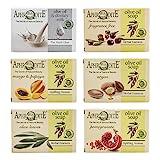 Aphrodite Olivenöl Seifen-Set. 6-teiliges Set mit natürlichen Seifen, hergestellt ohne chemische Substanzen oder tierische Fette (Mango & Papaya, Argan, Olive leaves, Pomegranate)