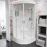Schulte Wellnessdusche Helgoland III, 92x92 cm, Fertigdusche Komplettdusche Duschtempel Runddusche Glas weiß, D1917706 04 50