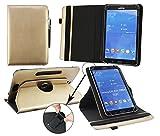 Emartbuy® Pearl Touchlet XWi.8 3G Windows Tablet PC 8 Zoll Universal (7-8 Zoll) Metallic Gold Premium PU Leder 360GradrotierendeStandFolioGeldbörseTascheHülle + Schwarz Eingabestift