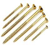 1000 Stück Spanplattenschrauben 4x70 mm galv. verzinkt gelb chromatiert mit Torx, Senkkopf, Teilgewinde und Fräsrippen unter dem Kopf