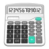 SPLAKS Taschenrechner 12-stellig Standard Function Tischrechner Bürorechner Rechenmaschine Solar- und AA Batterie betrieb Calculator mit großem Display Silver