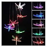 QPLKL Windspiele LED Solar Powered String Lights Multicolor Light Home Garten Im Freien Hängende Lampe Dekor Transparente Libelle Windspiele Heimtextilien