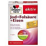 Doppelherz Jod + Folsäure + Eisen – Mit Jod zur Unterstützung der normalen Schilddrüsenfunktion, 45 Tabletten