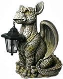 XL Drachenkind mit Solar Laterne Drache Figur Gargoyle