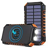 Hiluckey Wireless Solar Powerbank 26800mAh Wasserdichtes Solar Ladegerät USB C Externer Akku mit 4...