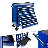 Arebos Werkstattwagen 7 Fächer   zentral abschließbar   inkl. Antirutschmatten   kugelgelagerte Schubladen   2 Rollen mit Feststellbremse (blau)