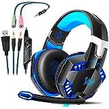 Gaming Kopfhörer für PS4 PC Computer|Professioneller 3,5mm Gaming Headset|Stereo Sound Mikrofon mit Rauschunterdrückung und Lautstärkeregler|Egonomisches Design, geringes Gewicht (Blau)