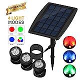 ALLOMN Solar Teichbeleuchtung, Draussen Tauchstrahler Einstellbare Unterwasserleuchten RGB-Farbwechsel, Vier Lichtmodi, IP68 wasserdicht, 18 LEDs, Auto Ein/Aus (Set von 3 Leuchten)