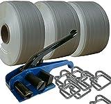 Sehr fest: 25mm Textilband Umreifungsset * Umreifungs Set Bündelset Bündelgerät Textilbandumreifung * 3 Rollen 25mm Textilband Drahtklammern Haspelspanner * von unipak