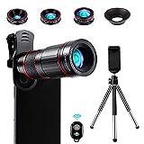 Crenova Handy Objektiv Kamera Linse Kit 22x Zoom Teleobjektiv, 235° Fischaugenobjektiv, 25...