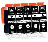 Supply Guy 5 Druckerpatronen mit Chip kompatibel mit Canon PGI-520 Schwarz für Canon Pixma IP3600 IP4600 IP4700 MP540 MP550 MP560 MP620 MP630 MP640 MP980 MP990 MX860 MX870
