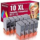 10 Kompatible Patronen BCI-21 BCI-24 für Canon Pixma IP1000 IP1500 S100 S200 S300 BJC2000 BJC2100 BJC4000 BJC4300 BJC5500 I250 I455 ms-point