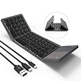 Jelly Comb Faltbare Bluetooth Tastatur mit Touchpad, Wireless Bluetooth Keyboard und Wired QWERTZ...
