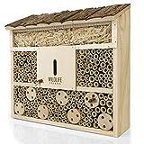 WILDLIFE FRIEND I Bienenhotel Insektenhotel mit Holz-Dach - unbehandelt, Bienenhaus aus Massiv-Holz für Bienen, Marienkäfer & Florfliegen, Insektenhaus & Nisthilfe zum Aufhängen