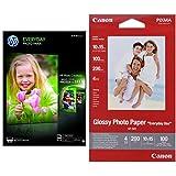 HP Q2510A Everyday Glossy Standard Fotopapier 200g/m² A4 100 Blatt, weiß & Canon BJ MEDIA GP-501 10X15 Papier 100 Blatt glänzend