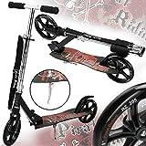 Deuba Funsport Scooter inkl Tragegurt Roller mit Stoßdämpfer ABEC9 205mm klappbar Kickscooter Tretroller Kinderroller Cityroller
