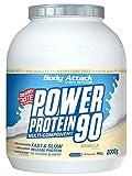 Body Attack Power Protein 90, 5K Eiweißpulver mit Whey-Protein, L-Carnitin und BCAA für Muskelaufbau und Fitness, Made in Germany (Vanilla Cream, 2 kg)