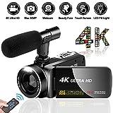 Videokamera Camcorder Ultra HD 4K 30MP Camcorder Kamera mit Mikrofon und Fernbedienung 3.0'IPS...
