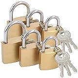 com-four® 6X Vorhängeschloss aus massivem Metall - Vorhangschloss mit Schlüssel und verschiedenen Bügelstärken (06 Stück - 40 mm 30 mm 25 mm)