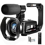 Camcorder Videokamera Full HD Camcorder 4K 48.0MP IR Nachtsicht Vlogging Kamera für YouTube 3.0'...