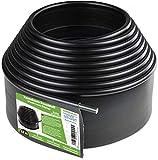 Flexible Rasenkante Kunststoff mit runden Oberkante (12 m, schwarz) - Robustes Stay-in-Place Design - Verhindert das Durchwachsen von Rasen - Einfache Montage, Beeteinfassung aus recyceltem Plastik