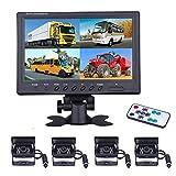 Fahrzeug Backup Kamera – camecho 22,9 cm 4 Geteilte Monitor Vorderseite View, Kamera 18 IR-Nachtsicht Wasserdicht Auto Kamera mit 2 x 33 ft und 2 x 20 Kabel für Wohnmobil-, Anhänger, Bus, LKW