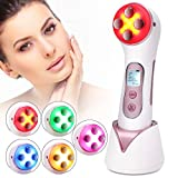 Ultraschall für Gesicht, Massagegerät Schönheit Maschine Akne-Entferner Anti-Falten/Aging, ION Photon Hautpflege für Körper und Gesicht 5 in 1 kosmetischer Ultraschall, 5 Modi LED Toning Geräte