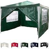 Maxstore Pavillon 3x3m WASSERDICHT + 4 Seitenteile (3X mit Fenster + 1x mit Reißverschluss), Farbwahl: weiß blau grün rot schwarz, inkl. Heringe + Spannseile