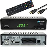 Anadol HD 888 digital Sat Receiver mit PVR Aufnahmefunktion - für Satelliten TV - Timeshift, SCART, USB, Koaxial, Satellit, Satellite, DVB S, DVB S2, Full HD - Astra Hotbird Sortiert, + HDMI Kabel