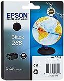 Epson Original 266 Tinte Globus, WF-100W WF-110W, wisch- und wasserfeste Pigmenttinte (schwarz)