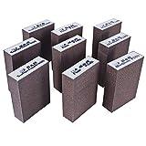 S&R Schleifschwamm-Set 9 St, 100 x 70 x 25 mm, Schleifklötze, Handschleifer, 3 Körnungen, Mittel 3x P180, Fein 3x P240, Superfein 3x P400 zum Schleifen, Polieren von Metall, Holz, Stahl, Edelstahl