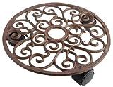 Esschert Design Pflanzenroller, Blumenroller aus Gusseisen, rund, Größe S, ca. Ø ca. 29 cm
