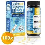 aquaself Poolwasser-Test Basis – Wassertester für Pool auf pH und Chlor und Gesamtalkalinität – 100 Stück Wasserteststreifen - inkl. gratis E-Book