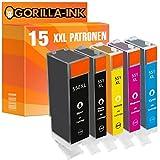 Gorilla-Ink 15x Tinten-Patrone XXL kompatibel mit Canon PGI-550 XL CLI-551 XL Pixma IP 7250 IP 8750 IX 6850 MG 5450