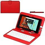 Navitech Rot bycast Leder Stand mit deutschem QWERTZ Keyboard mit Micro USB für das Fire Tablet, 7' Display