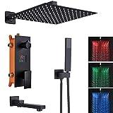 LED Duschsystem Unterputz Duschset 3-Funktions LCD Temperatur-Anzeige Schwarz Matt Hochmoderne Air Injection Duschset mit 40cm * 40cm Quadratischer Regenduschkopf,Messing und Edelstahl
