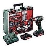 Metabo Akkuschrauber / Akku Bohrschrauber Mobile Werkstatt BS 18 Quick Set (602217880) im Kunststoffkoffer; mit 2 Li-Power Akkupacks (18 V/2,0 Ah), Ladegerät SC 30 + Zubehör - Neuheit 2021