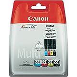 Canon Tintenpatrone CLI-551 Multipack C/M/Y/BK je 7ml - für PIXMA Drucker ORIGINAL 4 Tinten
