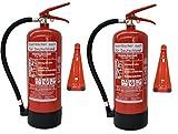 2 x 6 kg Brandengel ABC Pulver Feuerlöscher NEU Orginalverpackt Brandklasse ABC, EN3, 34 A, 183 B, C = 10 LE, Messingarmatur + Sicherheitsventil + Manometer + Wandhalter + Standfuß, Pulverlöscher