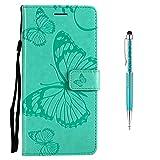 Grandoin Moto E5 Hülle, Handyhülle im Brieftasche-Stil für Motorola Moto E5 Handytasche PU Leder Flip Cover Schmetterling Muster Design Premium Book Case Schutzhülle Etui Case (Grün)