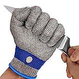 OKAWADACH Schnittfeste Handschuhe Küche, Level 5 Schutz Schnittschutzhandschuhe Kettenhandschuh Metzger Handschuhe Austernhandschuh Metall Handschuhe für Küche, Holzschnitzen und Garten (M)