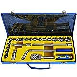 S&R Steckschlüsselsatz 1/2' PROFI aus CHROM-VANADIUM STAHL, Werkzeugkoffer Knarrenkasten für verrostete und festsitzende Schrauben Ratschenschlüsselset mit Umschaltknarre